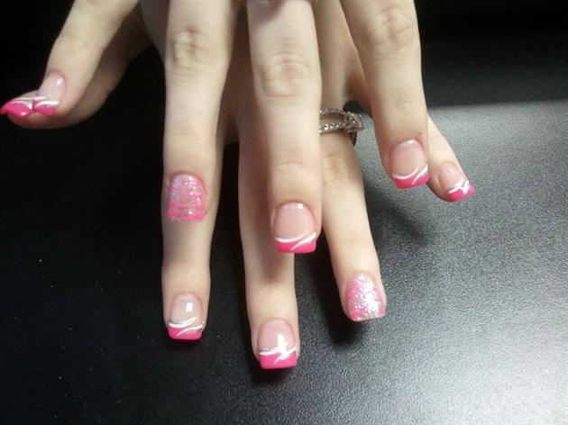 Classic pink white glitter tiger stripe