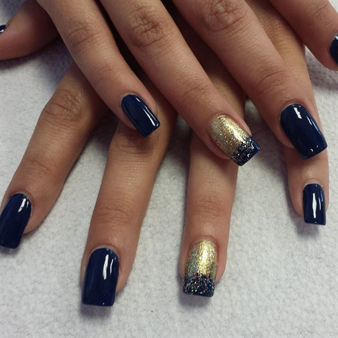 Gold and Navy Ombre - Nail Art Gallery
