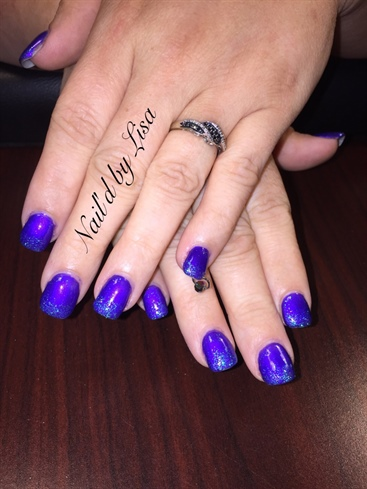 Purple Glitter Ombre Nail Piercing