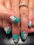 Teal Gel Polish With Zebra Nail Art
