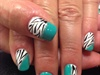 Teal Gel Polish With Zebra Nail Art
