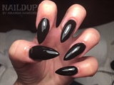 Acrylics With Black Gel Polish