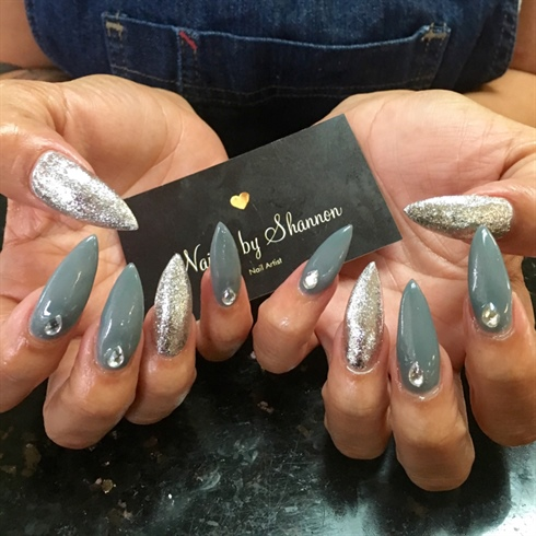 Grey stiletto Acrylics