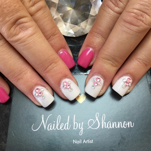 Hot Pink And White Nails Saworski Accent