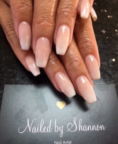 Ombré Pink And White Coffin Nails