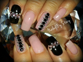 Fabulous Pink and Black Nails