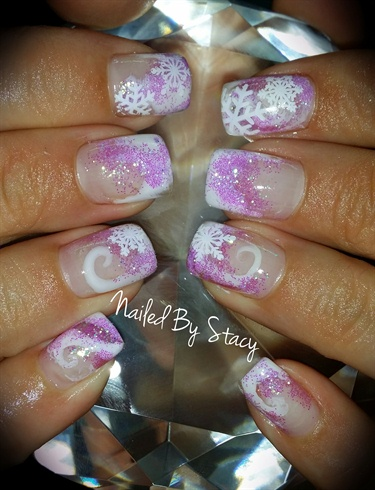 Purple Frosty Snowflake Nails