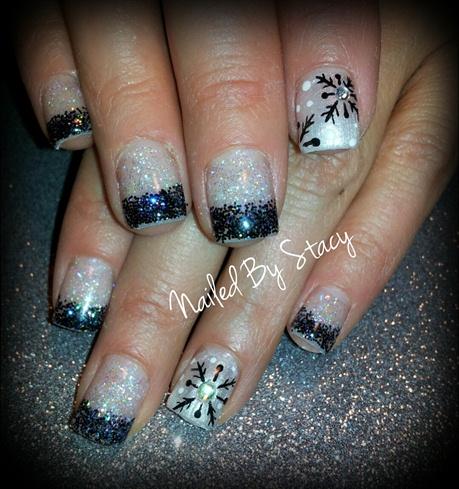 Black Diamond Snowflake Nails
