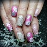 pink Snowflake nails