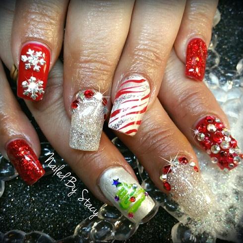 Zebra Candy Cane Nails