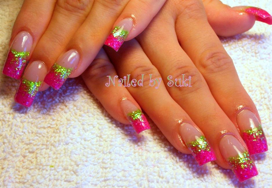 Pink n green nail art gallery prinsesfo Gallery