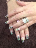 Hand Painted Flower Nails