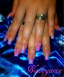Striped Pink&Blue Nails