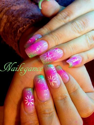 Pink and Green Acrylic Nails