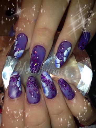 Purple thermo acrylic nails