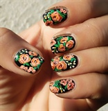FLOWER NAILART WITH PICTORIAL