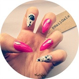 studded pink and splatter nails