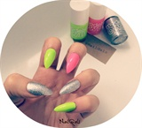 neon and silver sparkle nails