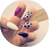 white purple black animal print nails