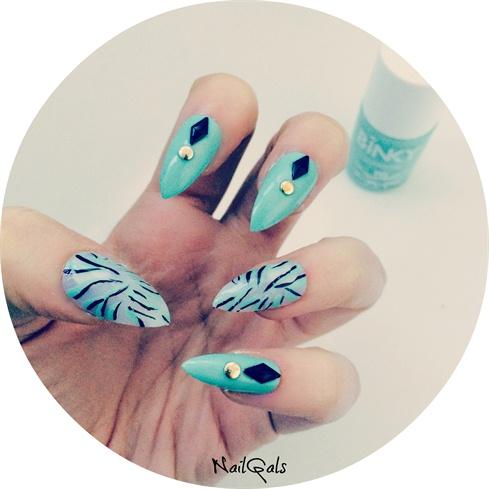 Studded Mint Green Zebra Print Nails Nail Art Gallery
