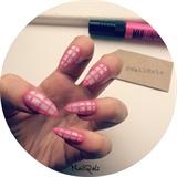 pink grid nails