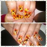 flowers and orange spirals
