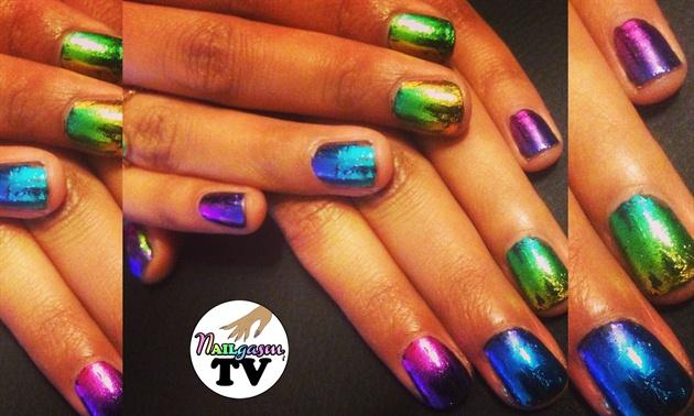 Rainbow nail foil nails