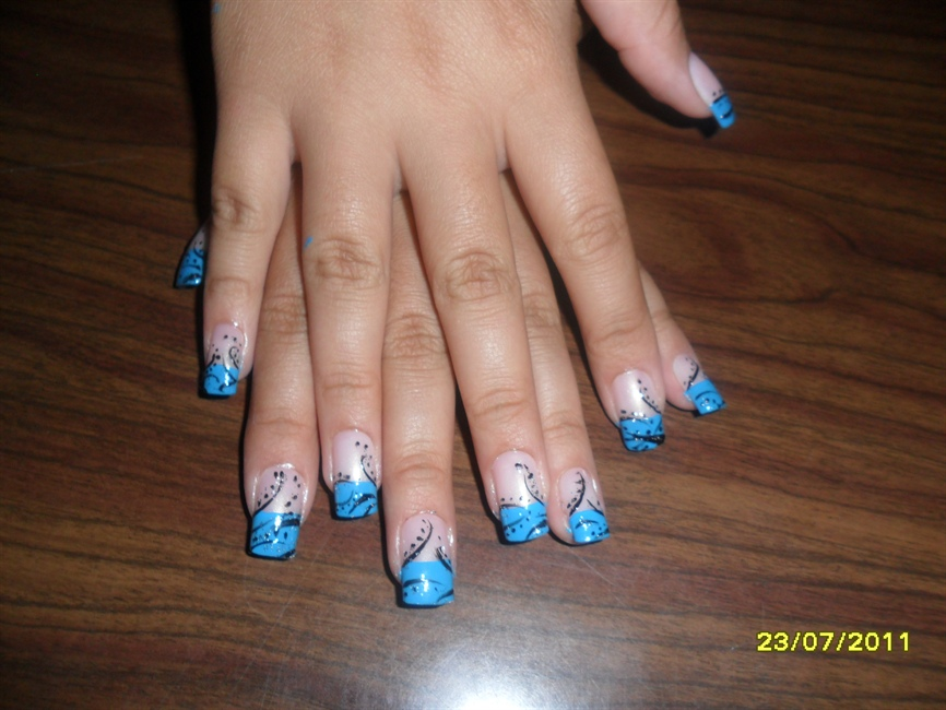Blue And Black Nails Nail Art Gallery