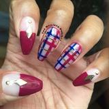 Negative Space Plaid Nails