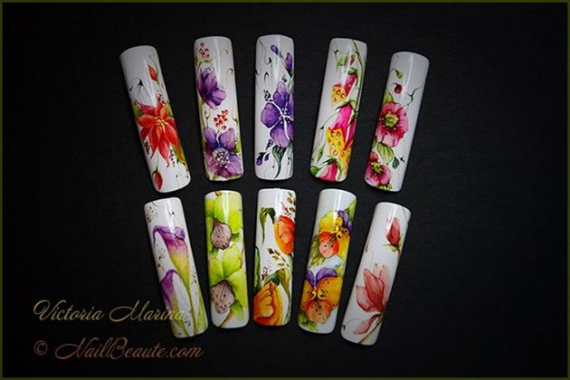 Watercolor Flowers Nail Art Gallery
