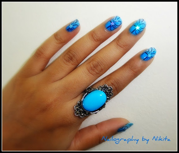 Stamped turquoise nails !!!!