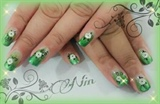 faded green french manicure