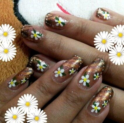 bronze floral nails
