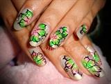 Greenish Pink One stroke nails