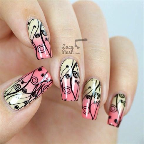 Black-yellow-pink Nail Art