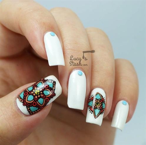 Aztec Flower Nail Art