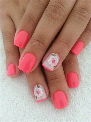 Pink Flower Nail Art - Nail Art Gallery