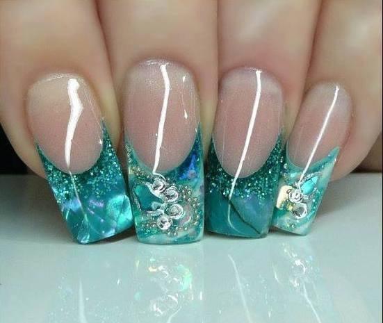 Mermaid Blue Nail Art