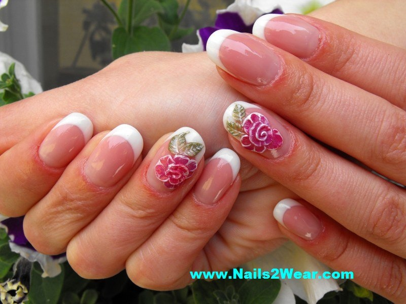 Rounded Corner Nails With Acrylic Flower