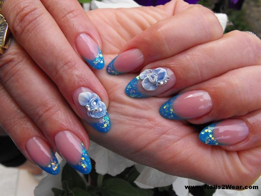 Light blue almond shaped nails - Nail Art Gallery