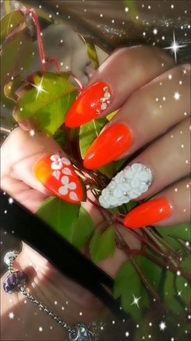 3d flowers and neon orange
