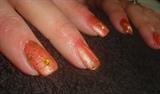 orange with golden flowers