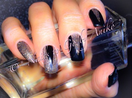 nail art: Black And Dark Diamond Glitter Style