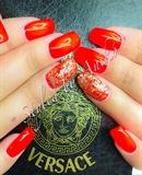 Neon Fire-Red Fullcover & Gold-Glitter