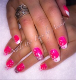 Pink & White Dots Nails