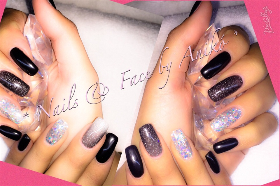 Magic Nails In Black & Glitter & Thermo - Nail Art Gallery