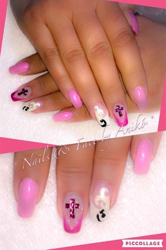 Pink & White Nails...