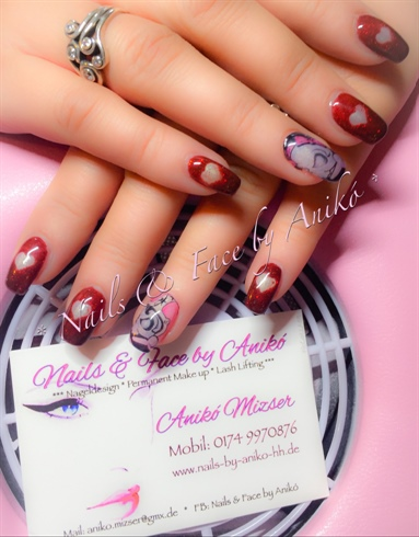 Red Nails with Hearts & Tattoo...