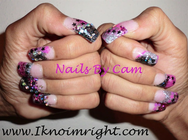 Pink And Black Rockstar Nails Nail Art Gallery