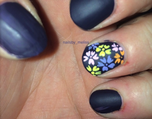 Matte navy blue with colorful flowers